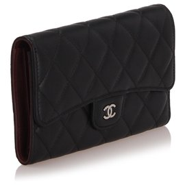 Chanel-Chanel Black Classic Flap Leather Wallet-Black