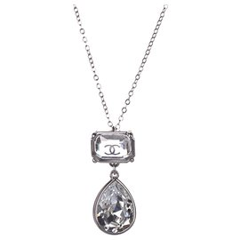 Chanel-Chanel Silver CC Rhinestone Teardrop Pendant Necklace-Silvery