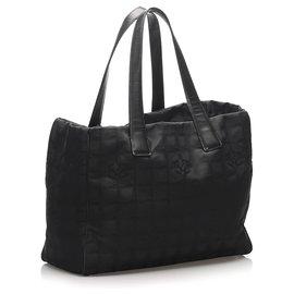 Chanel-Chanel Black New Travel Line Nylon Tote Bag-Black