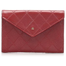 Chanel-Chanel Red CC Wild Stitch Leather Card Holder-Red