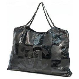 Chanel-CHANEL Deca coco chain shoulder Womens tote bag black-Black