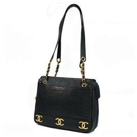 Chanel-CHANEL chain tote triple coco Womens tote bag black x gold hardware-Black,Gold hardware