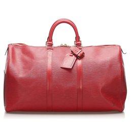 Louis Vuitton-Louis Vuitton Rouge Epi Keepall 60-Rouge