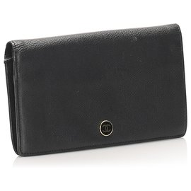 Chanel-Chanel Black Bi-fold CC Leather Long Wallet-Black