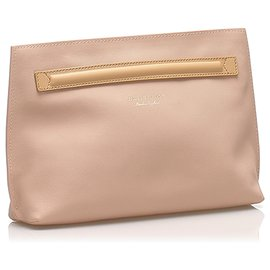 Burberry-Burberry Pink Leather Clutch Bag-Pink,Other