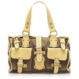 Mulberry-Mulberry Brown Roxanne Canvas Shoulder Bag-Brown,Yellow