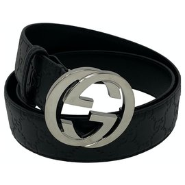 Gucci-gucci belt interlocking signature new-Black