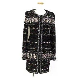 Chanel-CHANEL Fall 2014 SUPERMARKET MULTICOLOR FANTASY TWEED COAT DRESS-Black
