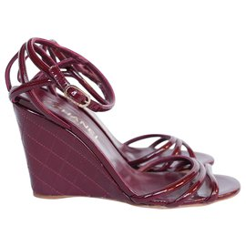 Chanel-Burgundy Quilted Wedges-Dark red
