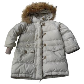 Bonpoint-BONPOINT Pale pink long down jacket 3 ans-Pink