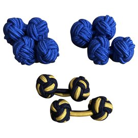 Autre Marque-3 pairs of cufflinks in elastic trimmings-Blue,Yellow,Navy blue