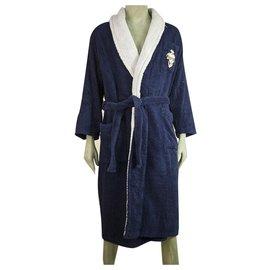 Hermès-Hermes Blue & Lavender Soft Cotton Men's Bathrobe Dressing Gown w. Emblem-Blue