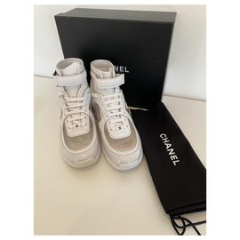 Chanel-Chanel white & transparent sneakers, taille 40,5 , New never worn-White