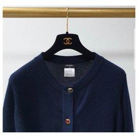 Chanel-Chanel Cashmere Jeweled Paris-Byzance Navy Cardigan Jacke-Navy blue
