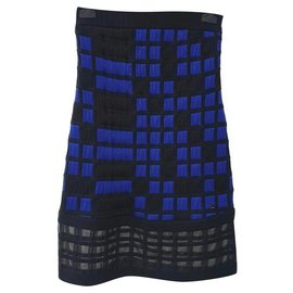 Chanel-Chanel 2013 Blue Black Checkered Dress-Black,Blue
