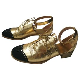 Chanel-CHANEL Golden derbies T40,5 IT Flagship Model of the Collection!-Gold hardware