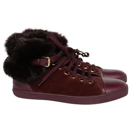 Louis Vuitton-Fur Top Punchy Sneakers-Red