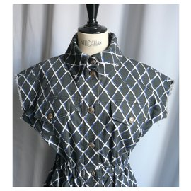 Chanel-CHANEL Diamond pattern cotton denim shirt dress very good condition T38-Blue