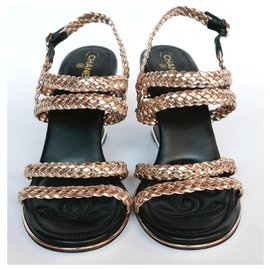 Chanel-Gold Braided Wedges-Golden