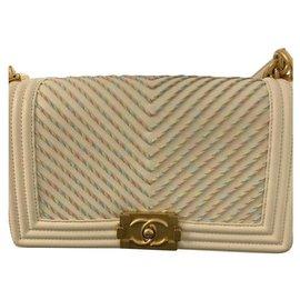Chanel-Chanel Embroidered Boy Chevron Medium Cruise Bag 2019-White,Golden,Eggshell
