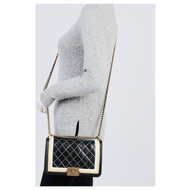 Chanel-CHANEL Limited Edition Le Boy Lambskin Quilted Diamond Quilted Medium Flap Bag Crossbody Shoulder Bag-Black