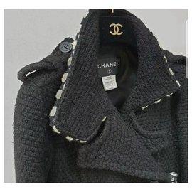 Chanel-Chanel Black Wool Coat  Sz.36-Black