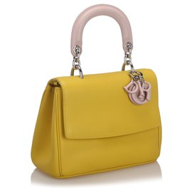 Dior-Dior Yellow Mini Be Dior Leather Flap Bag-Pink,Yellow