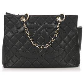 Chanel-Chanel Black CC Timeless Caviar Grand Shopping Tote-Black