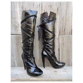 Roger Vivier-Roger Vivier p patent shearling boots 41-Black