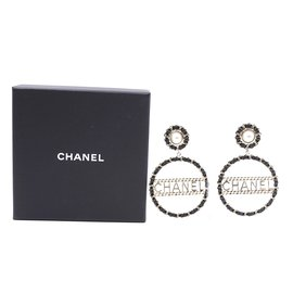 Chanel-Chanel Gold Black CC Pearl Leather Dangle Clip On Earrings-Black