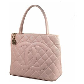 Chanel-CHANEL Medallion tote Womens tote bag A01804 pink x gold hardware-Pink,Gold hardware