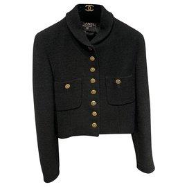 Chanel-Jackets-Black,Gold hardware