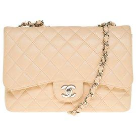 Chanel-Superb Chanel Timeless jumbo bag with single flap in beige caviar leather, Garniture en métal argenté, In very good shape !-Beige