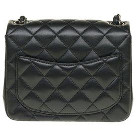 Chanel-Splendid Chanel Timeless Mini square handbag in black nappa leather, Garniture en métal argenté, almost new !-Black
