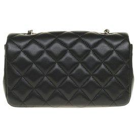 Chanel-Splendid Chanel Timeless Extra mini rectangle handbag in black nappa leather, Garniture en métal argenté, new condition!-Black