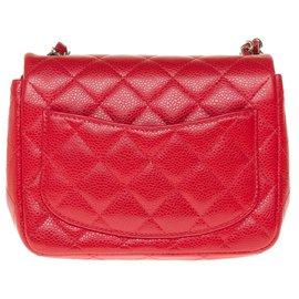 Chanel-Splendid Mini chanel handbag in red caviar leather, Garniture en métal argenté, Very good condition!-Red