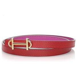 Hermès-Hermes Pink Reversible Leather Belt-Pink