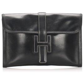 Hermès-Hermes Black Jige GM Leather Clutch Bag-Black