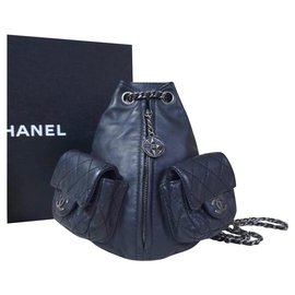 Chanel-CHANEL Black Leather Mini Backpack-Black