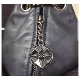 Chanel-CHANEL Black Leather Mini Backpack-Black