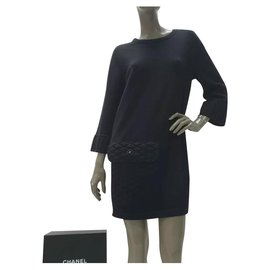 Chanel-Chanel  Black CC Logo Button Knitted Dress Sz 38-Black