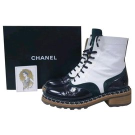 Chanel-Chanel  White Black Patent Leather Ankle Boots Sz.40,5-Black,White