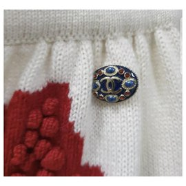 Chanel-Chanel Cashmere Paris-Salzburg Skirt Sz 40-White