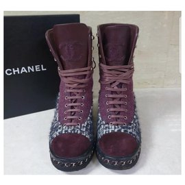 Chanel-Chanel  Burgundy Leather Tweed Ankle Boots Sz. 38-Other