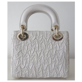 Dior-Lady Dior mini white bag-Eggshell