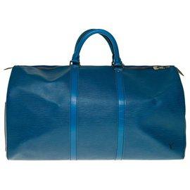 Louis Vuitton-Sac de de voyage Louis Vuitton Keepall 50 en cuir épi bleu, garniture en métal doré-Bleu