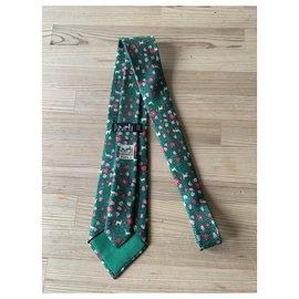Hermès-Ties-Pink,Beige,Green