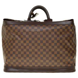 """Louis Vuitton-Superbe Sac de voyage """"Cruiser"""" en toile enduite à damier ébène et cuir marron, garniture en métal doré-Marron"""