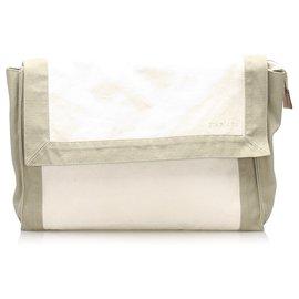 Hermès-Hermes White Leather Pouch-White,Grey