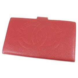 Chanel-Chanel Red CC Caviar Leather Long Wallet-Red